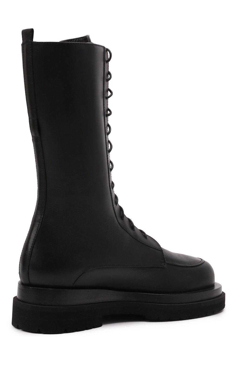 Женские кожаные ботинки MAGDA BUTRYM черного цвета, арт. 5187208008 | Фото 4 (Подошва: Платформа; Каблук высота: Низкий; Женское Кросс-КТ: Военные ботинки; Материал внутренний: Натуральная кожа)