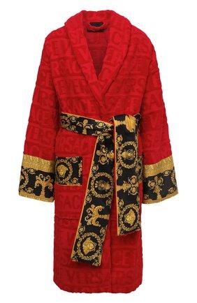 Женский хлопковый халат VERSACE красного цвета, арт. ZACJ00008/ZC0SP052 | Фото 1 (Материал внешний: Хлопок; Рукава: Длинные; Длина Ж (юбки, платья, шорты): До колена)