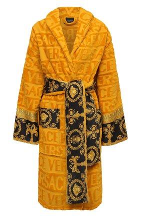 Женский хлопковый халат VERSACE оранжевого цвета, арт. ZACJ00008/ZC0SP052   Фото 1 (Материал внешний: Хлопок; Рукава: Длинные; Длина Ж (юбки, платья, шорты): До колена)