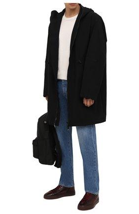 Мужские кожаные кеды SANTONI бордового цвета, арт. MBGT21556TCHRG0NB80 | Фото 2 (Материал внутренний: Натуральная кожа; Подошва: Массивная)