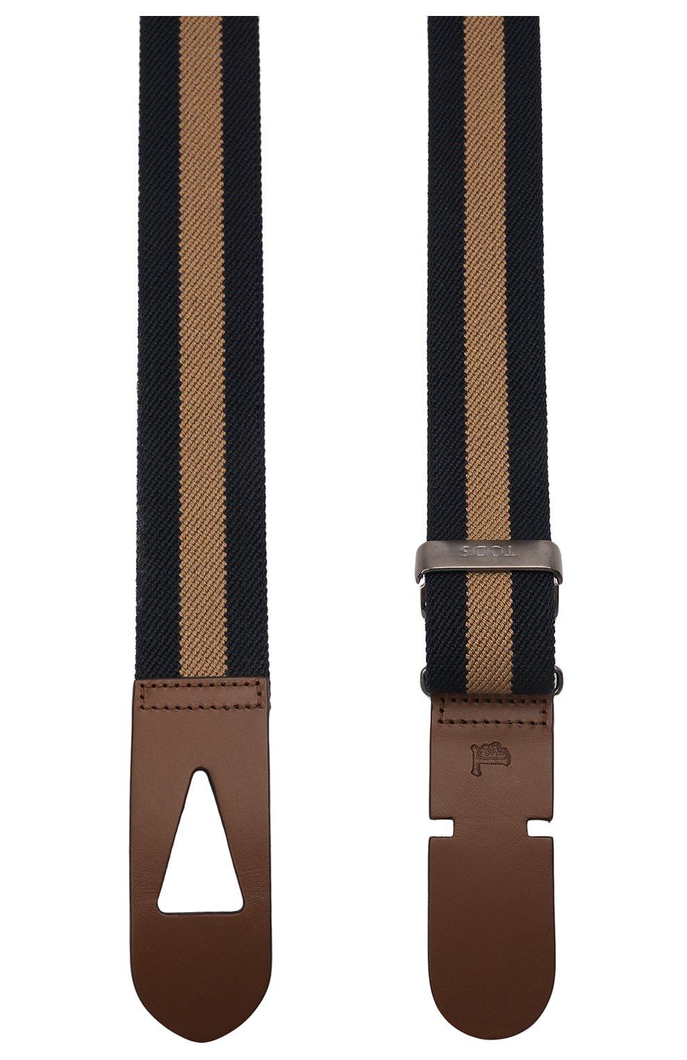 Мужской текстильный ремень TOD'S коричневого цвета, арт. XCMCP770100J21 | Фото 3 (Материал: Текстиль; Случай: Повседневный)