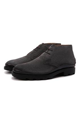 Мужские замшевые ботинки TOD'S серого цвета, арт. XXM04E00D80RE0 | Фото 1 (Материал внутренний: Натуральная кожа; Мужское Кросс-КТ: Ботинки-обувь, Дезерты-обувь; Материал внешний: Замша; Подошва: Плоская)
