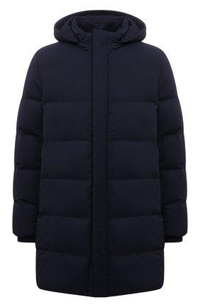 Мужская пуховик из шерсти и шелка ANDREA CAMPAGNA темно-синего цвета, арт. A3T760/4812 | Фото 1 (Материал внешний: Шерсть; Материал утеплителя: Пух и перо, Шерсть; Длина (верхняя одежда): До середины бедра; Рукава: Длинные; Кросс-КТ: Куртка; Мужское Кросс-КТ: пуховик-короткий; Стили: Кэжуэл)