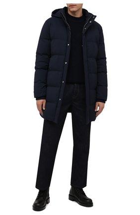 Мужская пуховик из шерсти и шелка ANDREA CAMPAGNA темно-синего цвета, арт. A3T760/4812 | Фото 2 (Материал внешний: Шерсть; Материал утеплителя: Пух и перо, Шерсть; Длина (верхняя одежда): До середины бедра; Рукава: Длинные; Кросс-КТ: Куртка; Мужское Кросс-КТ: пуховик-короткий; Стили: Кэжуэл)