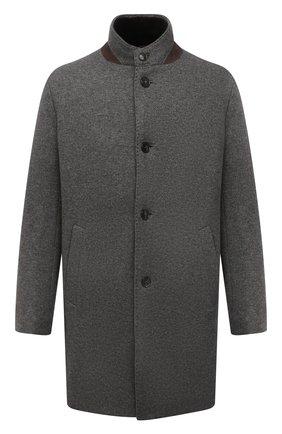 Мужской кашемировое пальто с меховой подкладкой ANDREA CAMPAGNA серого цвета, арт. 21U259-JER1CNMER | Фото 1 (Длина (верхняя одежда): До середины бедра; Материал внешний: Кашемир, Шерсть; Рукава: Длинные; Мужское Кросс-КТ: пальто-верхняя одежда; Стили: Кэжуэл)