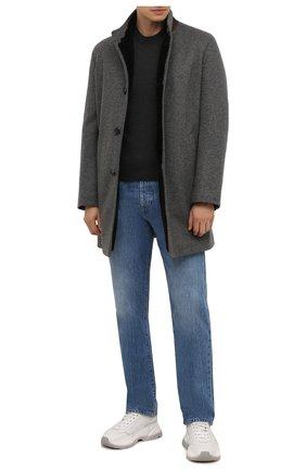 Мужской кашемировое пальто с меховой подкладкой ANDREA CAMPAGNA серого цвета, арт. 21U259-JER1CNMER | Фото 2 (Длина (верхняя одежда): До середины бедра; Материал внешний: Кашемир, Шерсть; Рукава: Длинные; Мужское Кросс-КТ: пальто-верхняя одежда; Стили: Кэжуэл)