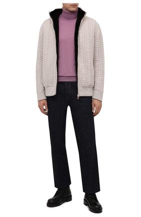 Мужской кашемировый бомбер с меховой подкладкой ANDREA CAMPAGNA бежевого цвета, арт. 21U266-XCNMER   Фото 2 (Материал внешний: Кашемир, Шерсть; Рукава: Длинные; Длина (верхняя одежда): Короткие; Кросс-КТ: Куртка; Принт: Без принта; Мужское Кросс-КТ: утепленные куртки, шерсть и кашемир; Стили: Кэжуэл)