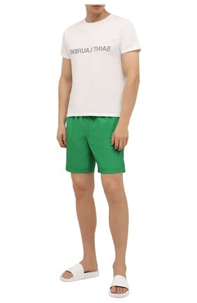 Мужские плавки-шорты DOLCE & GABBANA зеленого цвета, арт. M4B40T/FUSFW   Фото 2 (Материал внешний: Синтетический материал; Мужское Кросс-КТ: плавки-шорты; Принт: Без принта)