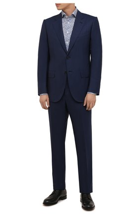 Мужской шерстяной костюм ZEGNA COUTURE синего цвета, арт. 232N06/21L2N5 | Фото 1 (Материал внешний: Шерсть; Материал подклада: Купро; Рукава: Длинные; 1-2-бортные: Однобортные; Стили: Классический)