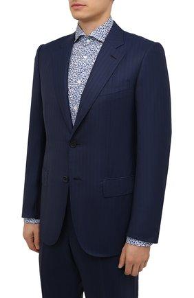 Мужской шерстяной костюм ZEGNA COUTURE синего цвета, арт. 232N06/21L2N5 | Фото 2 (Материал внешний: Шерсть; Материал подклада: Купро; Рукава: Длинные; 1-2-бортные: Однобортные; Стили: Классический)