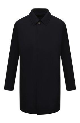 Мужской шерстяной плащ ERMENEGILDO ZEGNA темно-синего цвета, арт. UYT98/V308 | Фото 1 (Рукава: Длинные; Материал внешний: Шерсть; Материал подклада: Синтетический материал; Длина (верхняя одежда): До середины бедра; Мужское Кросс-КТ: Плащ-верхняя одежда; Стили: Классический)