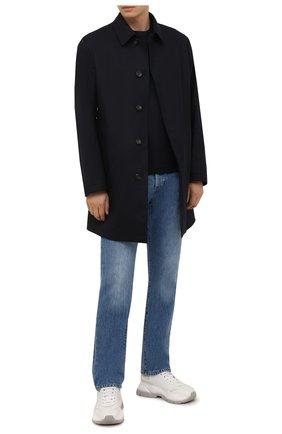 Мужской шерстяной плащ ERMENEGILDO ZEGNA темно-синего цвета, арт. UYT98/V308 | Фото 2 (Рукава: Длинные; Материал внешний: Шерсть; Материал подклада: Синтетический материал; Длина (верхняя одежда): До середины бедра; Мужское Кросс-КТ: Плащ-верхняя одежда; Стили: Классический)