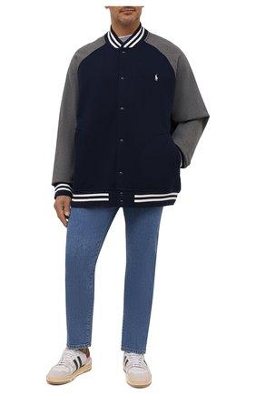 Мужской хлопковый бомбер POLO RALPH LAUREN темно-синего цвета, арт. 711850316/PRL BS | Фото 2 (Материал внешний: Хлопок; Длина (верхняя одежда): Короткие; Рукава: Длинные; Кросс-КТ: Куртка; Принт: Без принта; Стили: Спорт-шик; Big sizes: Big Sizes)