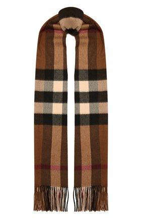 Женский кашемировый шарф BURBERRY коричневого цвета, арт. 8045336   Фото 1 (Материал: Кашемир, Шерсть)