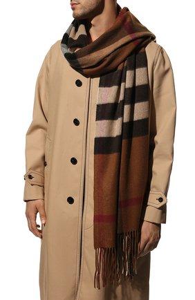 Женский кашемировый шарф BURBERRY коричневого цвета, арт. 8045336   Фото 2 (Материал: Кашемир, Шерсть)