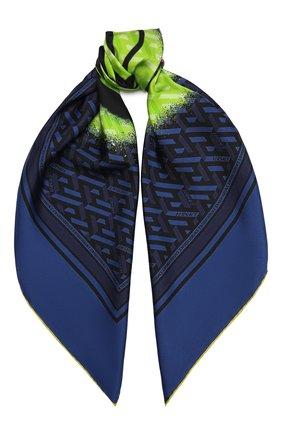 Женский шелковый платок VERSACE темно-синего цвета, арт. 1001600/1A01907   Фото 1 (Материал: Текстиль, Шелк)