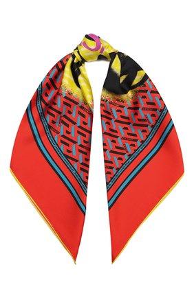 Женский шелковый платок VERSACE оранжевого цвета, арт. 1001600/1A01907   Фото 1 (Материал: Шелк, Текстиль)