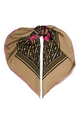 Женский шелковый платок VERSACE темно-бежевого цвета, арт. 1001600/1A01907   Фото 1 (Материал: Шелк, Текстиль)