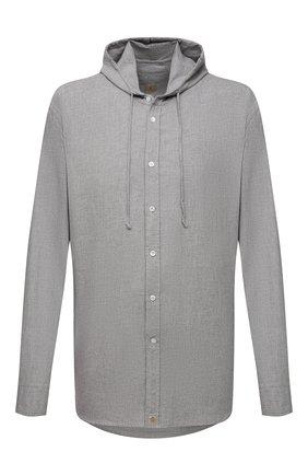 Мужская хлопковая рубашка SONRISA серого цвета, арт. ILS118F/F6100/47-51 | Фото 1 (Материал внешний: Хлопок; Случай: Повседневный; Принт: Однотонные; Рубашки М: Classic Fit; Манжеты: На пуговицах; Воротник: С капюшоном; Стили: Кэжуэл; Рукава: Длинные; Длина (для топов): Стандартные; Big sizes: Big Sizes)