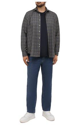 Мужская хлопковая рубашка SONRISA синего цвета, арт. IL7/F6117/47-51 | Фото 2 (Материал внешний: Хлопок; Длина (для топов): Стандартные; Рукава: Длинные; Случай: Повседневный; Принт: Клетка; Рубашки М: Classic Fit; Манжеты: На пуговицах; Воротник: Акула; Стили: Кэжуэл; Big sizes: Big Sizes)