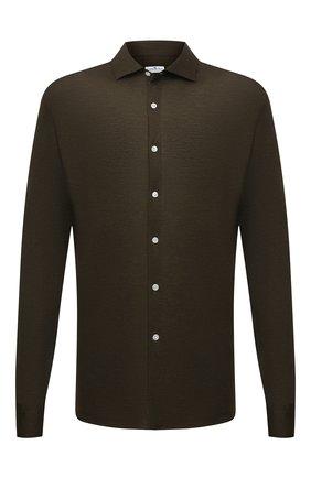 Мужская хлопковая рубашка SONRISA зеленого цвета, арт. IFJ17/J132ME/47-51 | Фото 1 (Материал внешний: Хлопок; Рукава: Длинные; Длина (для топов): Стандартные; Случай: Повседневный; Принт: Однотонные; Рубашки М: Classic Fit; Манжеты: На пуговицах; Воротник: Акула; Стили: Кэжуэл; Big sizes: Big Sizes)