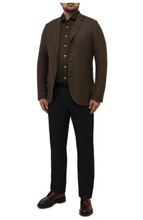 Мужская хлопковая рубашка SONRISA зеленого цвета, арт. IFJ17/J132ME/47-51 | Фото 2 (Материал внешний: Хлопок; Рукава: Длинные; Длина (для топов): Стандартные; Случай: Повседневный; Принт: Однотонные; Рубашки М: Classic Fit; Манжеты: На пуговицах; Воротник: Акула; Стили: Кэжуэл; Big sizes: Big Sizes)