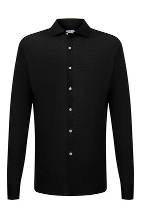 Мужская хлопковая рубашка SONRISA черного цвета, арт. IFJ17/J132/47-51 | Фото 1 (Материал внешний: Хлопок; Случай: Повседневный; Принт: Однотонные; Рубашки М: Regular Fit; Манжеты: На пуговицах; Воротник: Акула; Стили: Кэжуэл; Рукава: Длинные; Длина (для топов): Стандартные; Big sizes: Big Sizes)