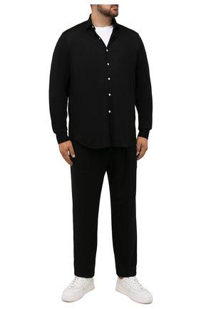 Мужская хлопковая рубашка SONRISA черного цвета, арт. IFJ17/J132/47-51 | Фото 2 (Материал внешний: Хлопок; Случай: Повседневный; Принт: Однотонные; Рубашки М: Regular Fit; Манжеты: На пуговицах; Воротник: Акула; Стили: Кэжуэл; Рукава: Длинные; Длина (для топов): Стандартные; Big sizes: Big Sizes)