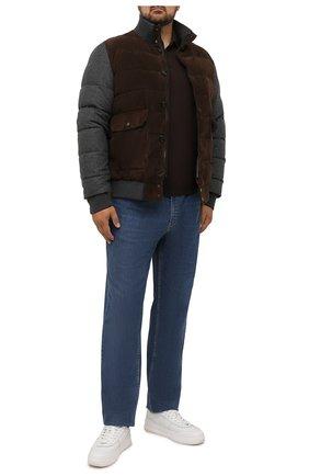 Мужской пуховый бомбер KITON коричневого цвета, арт. UW1061MV0247A/64-72 | Фото 2 (Рукава: Длинные; Длина (верхняя одежда): Короткие; Материал внешний: Шерсть; Материал подклада: Синтетический материал; Материал утеплителя: Пух и перо; Кросс-КТ: Куртка; Принт: Без принта; Мужское Кросс-КТ: пуховик-короткий; Стили: Кэжуэл; Big sizes: Big Sizes)