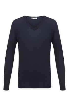 Мужской шерстяной пуловер IL BORGO CASHMERE синего цвета, арт. 54-1207G0 | Фото 1 (Материал внешний: Шерсть; Мужское Кросс-КТ: Пуловеры; Стили: Кэжуэл; Вырез: V-образный; Рукава: Длинные; Длина (для топов): Стандартные)
