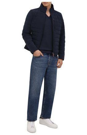 Мужской шерстяной пуловер IL BORGO CASHMERE синего цвета, арт. 54-1207G0 | Фото 2 (Материал внешний: Шерсть; Мужское Кросс-КТ: Пуловеры; Стили: Кэжуэл; Вырез: V-образный; Рукава: Длинные; Длина (для топов): Стандартные)