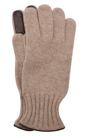 Мужские комбинированные перчатки IL BORGO CASHMERE бежевого цвета, арт. 46-396G0 | Фото 1 (Материал: Шерсть, Кашемир; Кросс-КТ: Трикотаж)