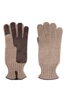 Мужские комбинированные перчатки IL BORGO CASHMERE бежевого цвета, арт. 46-396G0 | Фото 2 (Материал: Шерсть, Кашемир; Кросс-КТ: Трикотаж)