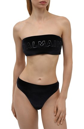 Женский раздельный купальник BALMAIN черного цвета, арт. BKBSA0520   Фото 2 (Материал внешний: Синтетический материал; Женское Кросс-КТ: Раздельные купальники)