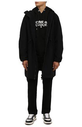 Мужской хлопковое худи COMME DES FUCKDOWN черного цвета, арт. CDFU1230 | Фото 2 (Материал внешний: Хлопок; Рукава: Длинные; Длина (для топов): Стандартные; Мужское Кросс-КТ: Худи-одежда; Принт: С принтом; Стили: Спорт-шик)