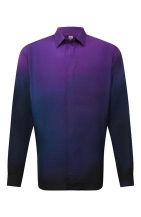 Мужская шелковая рубашка BERLUTI фиолетового цвета, арт. R21HTL52-002   Фото 1 (Материал внешний: Шелк; Случай: Повседневный; Принт: Однотонные; Рубашки М: Regular Fit; Манжеты: На пуговицах; Воротник: Кент; Стили: Кэжуэл; Рукава: Длинные; Длина (для топов): Стандартные)
