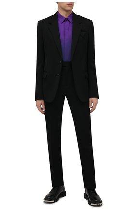 Мужская шелковая рубашка BERLUTI фиолетового цвета, арт. R21HTL52-002   Фото 2 (Материал внешний: Шелк; Случай: Повседневный; Принт: Однотонные; Рубашки М: Regular Fit; Манжеты: На пуговицах; Воротник: Кент; Стили: Кэжуэл; Рукава: Длинные; Длина (для топов): Стандартные)