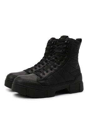 Мужские комбинированные ботинки VIC MATIE черного цвета, арт. 1W3044U.V06CXHB001 | Фото 1 (Материал внутренний: Натуральная кожа, Текстиль; Подошва: Массивная; Материал внешний: Текстиль; Каблук высота: Высокий; Мужское Кросс-КТ: Ботинки-обувь)