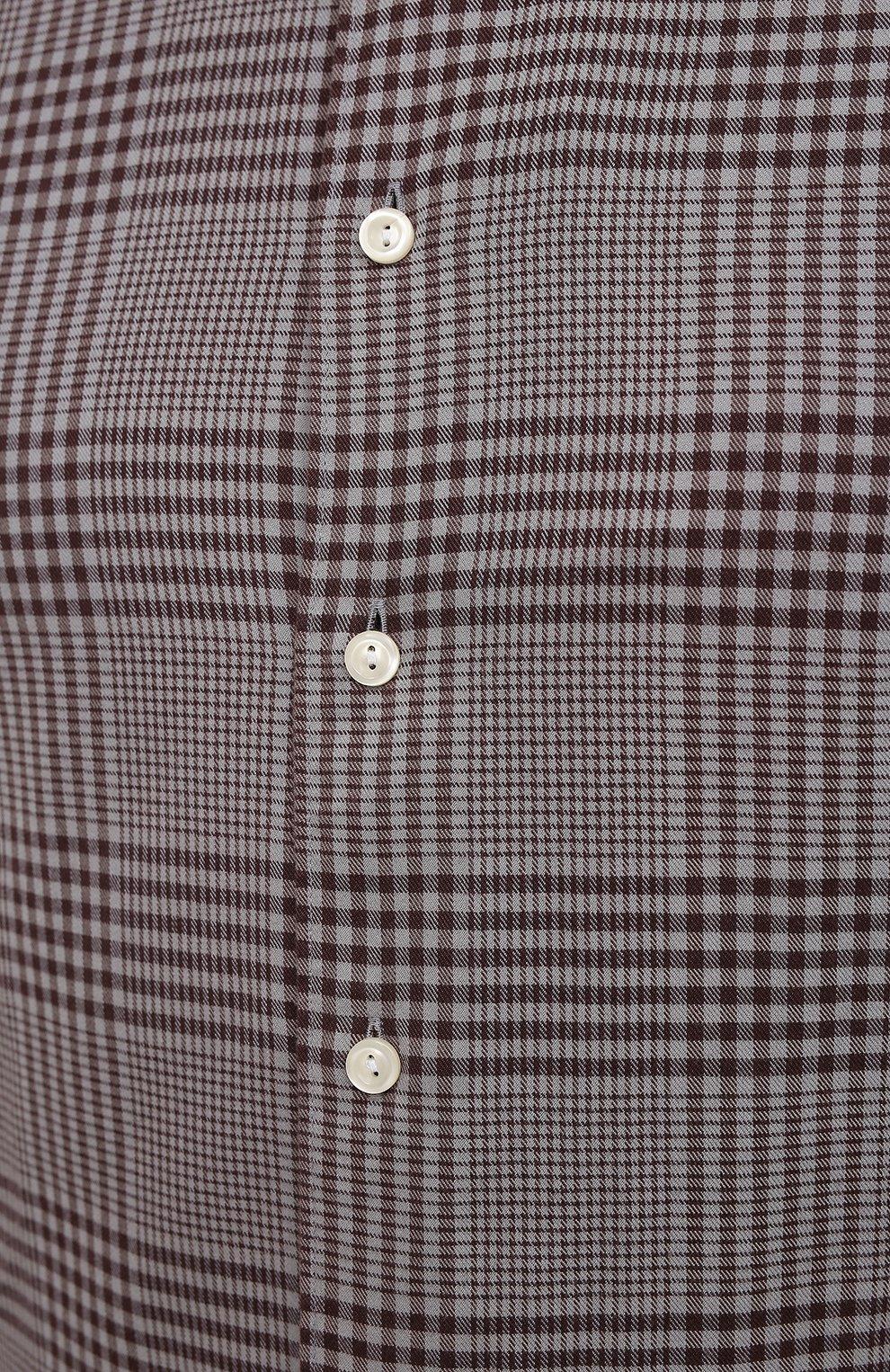 Мужская рубашка ETON коричневого цвета, арт. 1000 03098 | Фото 5 (Манжеты: На пуговицах; Принт: Клетка; Рукава: Длинные; Воротник: Акула; Случай: Повседневный; Длина (для топов): Стандартные; Рубашки М: Slim Fit; Материал внешний: Хлопок, Лиоцелл; Стили: Кэжуэл)