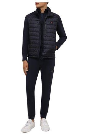Мужской утепленный жилет PAUL&SHARK темно-синего цвета, арт. 11312349/GU2   Фото 2 (Длина (верхняя одежда): Короткие; Материал внешний: Синтетический материал; Материал подклада: Синтетический материал; Кросс-КТ: Куртка; Стили: Кэжуэл)