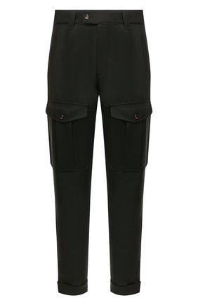 Мужские шерстяные брюки-карго ALEXANDER MCQUEEN хаки цвета, арт. 664272/QRU89 | Фото 1 (Длина (брюки, джинсы): Стандартные; Материал внешний: Шерсть; Случай: Повседневный; Силуэт М (брюки): Карго; Стили: Кэжуэл)