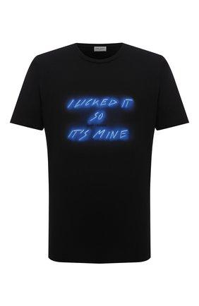 Мужская хлопковая футболка SAINT LAURENT черного цвета, арт. 670106/Y36JW   Фото 1 (Длина (для топов): Стандартные; Материал внешний: Хлопок; Рукава: Короткие; Принт: С принтом; Стили: Кэжуэл)