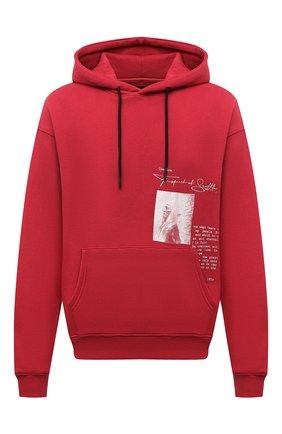Мужской хлопковое худи TEE LIBRARY красного цвета, арт. TFK-HD-31 | Фото 1 (Материал внешний: Хлопок; Рукава: Длинные; Длина (для топов): Стандартные; Мужское Кросс-КТ: Худи-одежда; Принт: С принтом; Стили: Спорт-шик)