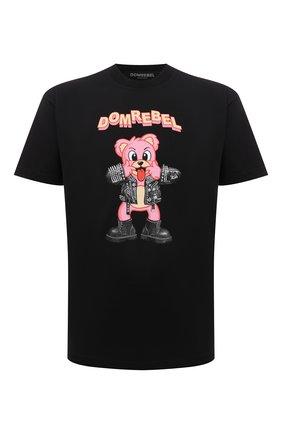 Мужская хлопковая футболка DOMREBEL черного цвета, арт. MBLAH/B0X T | Фото 1 (Материал внешний: Хлопок; Рукава: Короткие; Принт: С принтом; Стили: Гранж; Длина (для топов): Стандартные)