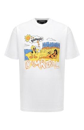 Мужская хлопковая футболка DOMREBEL белого цвета, арт. MBEACH/B0X T | Фото 1 (Рукава: Короткие; Материал внешний: Хлопок; Длина (для топов): Стандартные; Принт: С принтом; Стили: Гранж)
