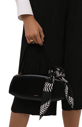 Женский шелковый платок ALEXANDER MCQUEEN черно-белого цвета, арт. 678562/3001Q | Фото 2 (Материал: Текстиль, Шелк)