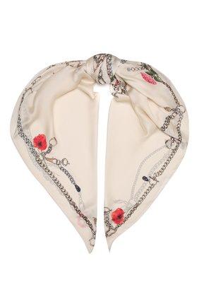 Женский шелковый платок ALEXANDER MCQUEEN кремвого цвета, арт. 677018/3011Q | Фото 1 (Материал: Текстиль, Шелк)
