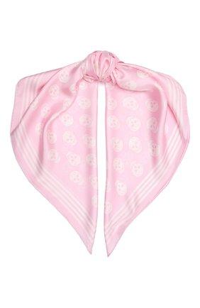 Женский шелковый платок ALEXANDER MCQUEEN розового цвета, арт. 590929/3001Q   Фото 1 (Материал: Текстиль, Шелк)