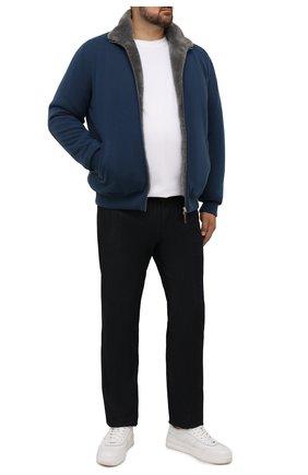 Мужской кашемировый бомбер с меховой подкладкой SVEVO синего цвета, арт. 0140SA21/MP01/2/60-62 | Фото 2 (Материал внешний: Шерсть, Кашемир; Рукава: Длинные; Длина (верхняя одежда): Короткие; Кросс-КТ: Куртка; Принт: Без принта; Мужское Кросс-КТ: утепленные куртки, шерсть и кашемир; Стили: Кэжуэл; Big sizes: Big Sizes)