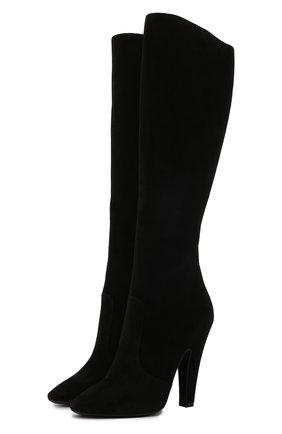 Женские замшевые сапоги SAINT LAURENT черного цвета, арт. 670714/27D00 | Фото 1 (Подошва: Плоская; Материал внутренний: Натуральная кожа; Высота голенища: Средние; Каблук высота: Высокий; Каблук тип: Устойчивый; Материал внешний: Замша)